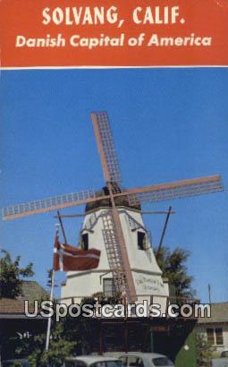 Quaint Windmill - Solvang, California CA Postcard