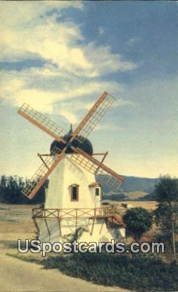 Danish Windmill - Solvang, California CA Postcard