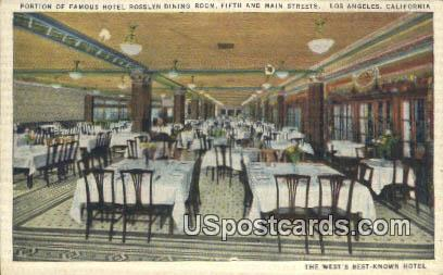 Hotel Rosslyn, Dining Room - Los Angeles, California CA Postcard