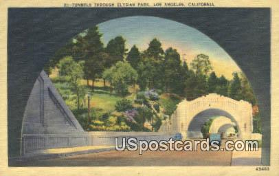 Tunnels through Elysian Park - Los Angeles, California CA Postcard