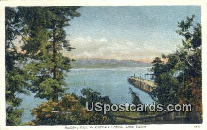 Bathing Pier, Valentine's Cabins - Lake Tahoe, California CA Postcard