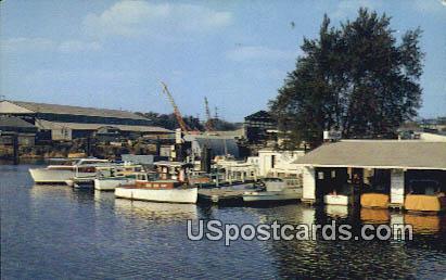 Uptown Yacht Harbor - Stockton, California CA Postcard