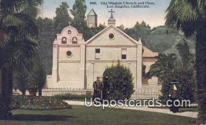 Old Mission Church & Plaza - Los Angeles, California CA Postcard