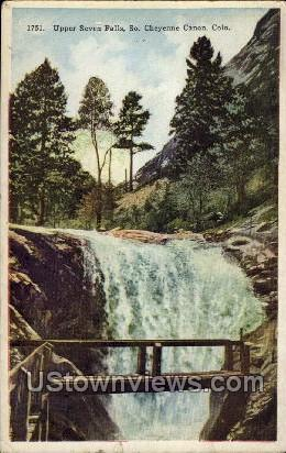 Upper Seven Falls - Cheyenne, Colorado CO Postcard