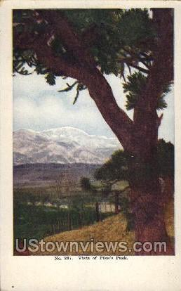 Vista of Pikes Peak - Colorado Springs Postcards, Colorado CO Postcard