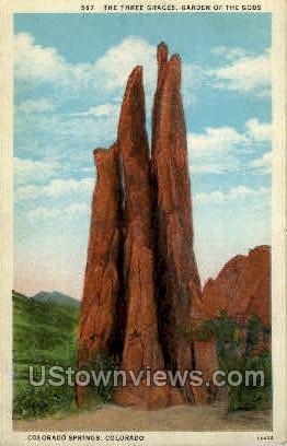 The Three Graces Garden of the Gods - Colorado Springs Postcards, Colorado CO Postcard