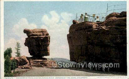 Steamboat Rock Garden of the Gods  - Colorado Springs Postcards, Colorado CO Postcard