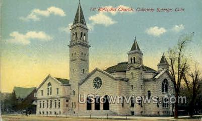 First Methodist Church - Colorado Springs Postcards, Colorado CO Postcard