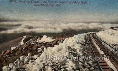 Summit above the clouds Pike's Peak  - Colorado Springs Postcards, Colorado CO Postcard