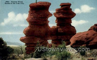 Garden of the Gods Siamese Twins - Colorado Springs Postcards, Colorado CO Postcard