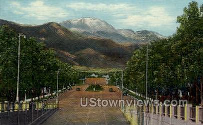 Pikes Peak from Platte Avenue - Colorado Springs Postcards, Colorado CO Postcard