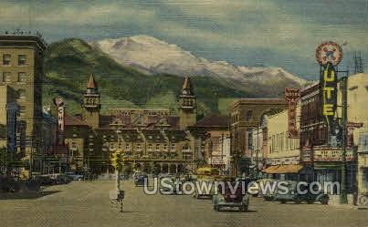 Pikes Peak Avenue - Colorado Springs Postcards, Colorado CO Postcard