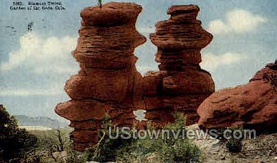 Siamese Twins Garden of the God  - Colorado Springs Postcards, Colorado CO Postcard