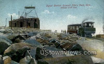 Pikes Peak view of the Summit - Colorado Springs Postcards, Colorado CO Postcard