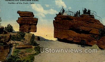 Balanced Rock and Steamboat Rock Garden of the Gods  - Colorado Springs Postcards, Colorado CO Postcard