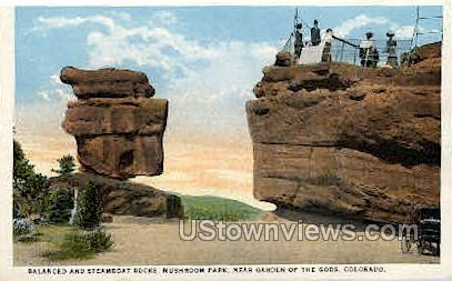 Balanced Rock and Steamboat Rock Garden of the Gods  - Colorado Springs Postcards, Colorado CO Postcard