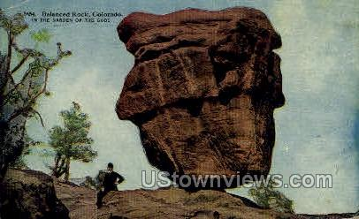 Balanced Rock Garden of the Gods  - Colorado Springs Postcards, Colorado CO Postcard