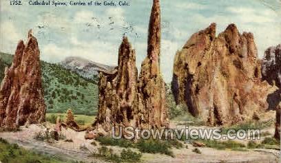 Cathedral Spires Garden of the Gods  - Colorado Springs Postcards, Colorado CO Postcard