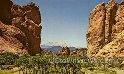 Pikes Peak behind Garden of the Gods - Colorado Springs Postcards, Colorado CO Postcard