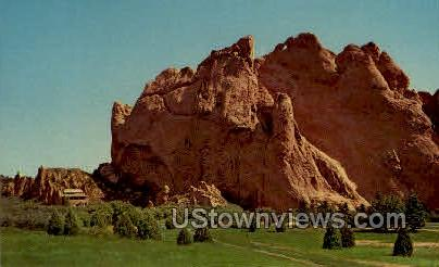 Hidden Inn and North Gate Rock - Colorado Springs Postcards, Colorado CO Postcard
