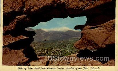 Siamese Twins Garden of the Gods  - Colorado Springs Postcards, Colorado CO Postcard