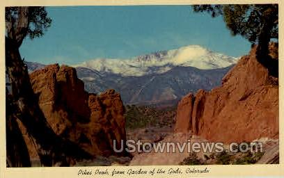 Pikes Peak from Garden of the Gods - Colorado Springs Postcards, Colorado CO Postcard