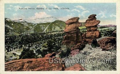 Siamise Twins Garden of the Gods - Colorado Springs Postcards, Colorado CO Postcard