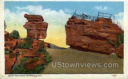 Balanced and Steamboat Rocks Garden of the Gods - Colorado Springs Postcards, Colorado CO Postcard