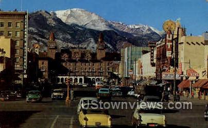Pikes Peak Avenue  - Colorado Springs Postcards, Colorado CO Postcard