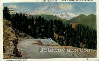 Broadmoor-Cheyenne Highway - Colorado Springs Postcards, Colorado CO Postcard