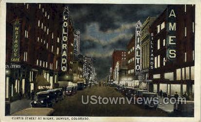 Curtis Street at night - Denver, Colorado CO Postcard