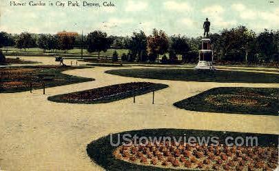Flower Garden in City Park - Denver, Colorado CO Postcard