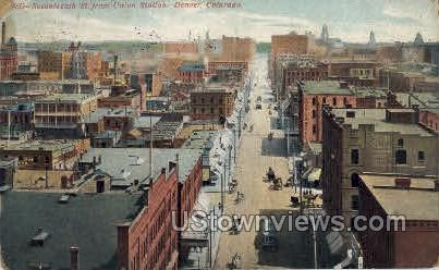 Seventeenth St. from Union Station - Denver, Colorado CO Postcard