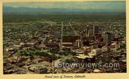 Aerial view of Denver - Colorado CO Postcard