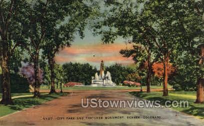 City Park and Thatcher Monument - Denver, Colorado CO Postcard