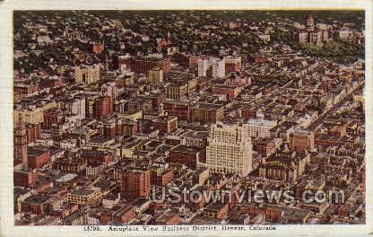 Aeroplane View of Business District - Denver, Colorado CO Postcard
