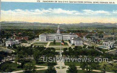 Civic Center from Captitol Dome - Denver, Colorado CO Postcard