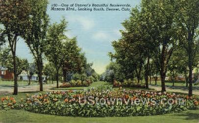Beautiful Boulevards Monaco Blvd. - Denver, Colorado CO Postcard