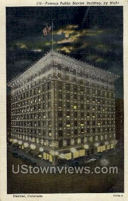 Famous Public Service Building by Night - Denver, Colorado CO Postcard