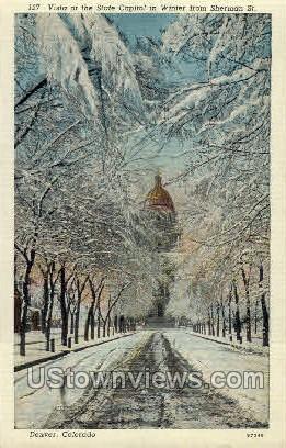 Vista of State Capitol - Denver, Colorado CO Postcard