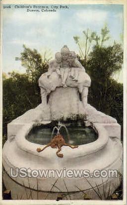 Childrens Fountain - Denver, Colorado CO Postcard