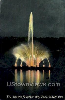The Electric Fountain, City Park - Denver, Colorado CO Postcard