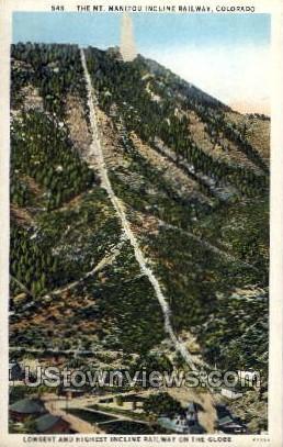 The Mount Manitou Incline Railway - Colorado CO Postcard