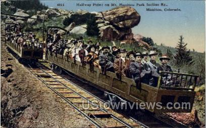 Halfway Point on Mt. Manitou Park Incline Ry - Colorado CO Postcard