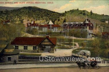 Soda Springs and Cliff House - Manitou, Colorado CO Postcard