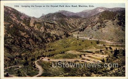 Looping the Loops on Crystal Park Auto Road - Manitou, Colorado CO Postcard