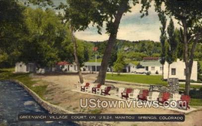 GreenWhich Village Court - Manitou, Colorado CO Postcard