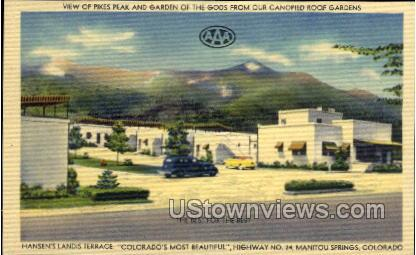 View of Pikes Peak and Garden of The Gods - Manitou, Colorado CO Postcard