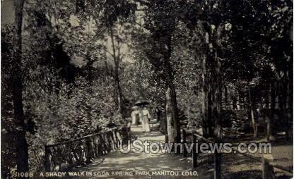 A Shady Walk in Soda Springs Park - Manitou, Colorado CO Postcard