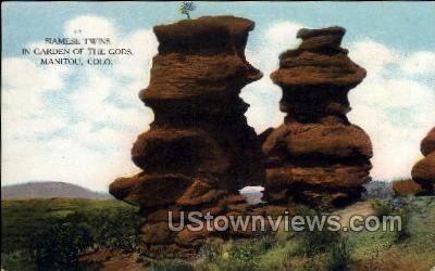 Siamese Twins, Garden of The Gods - Manitou, Colorado CO Postcard